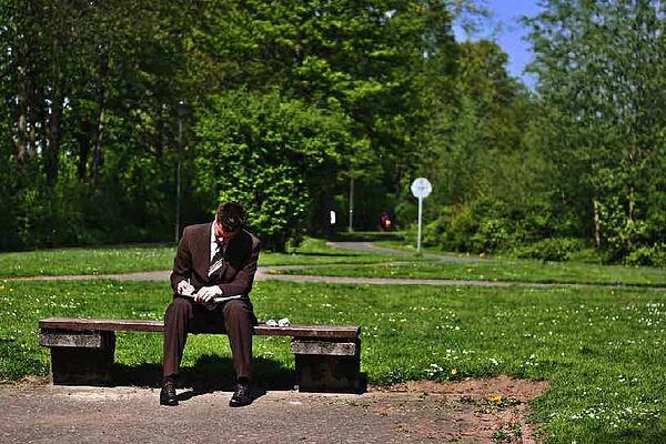 Businessman CFO Accounting Park Bench